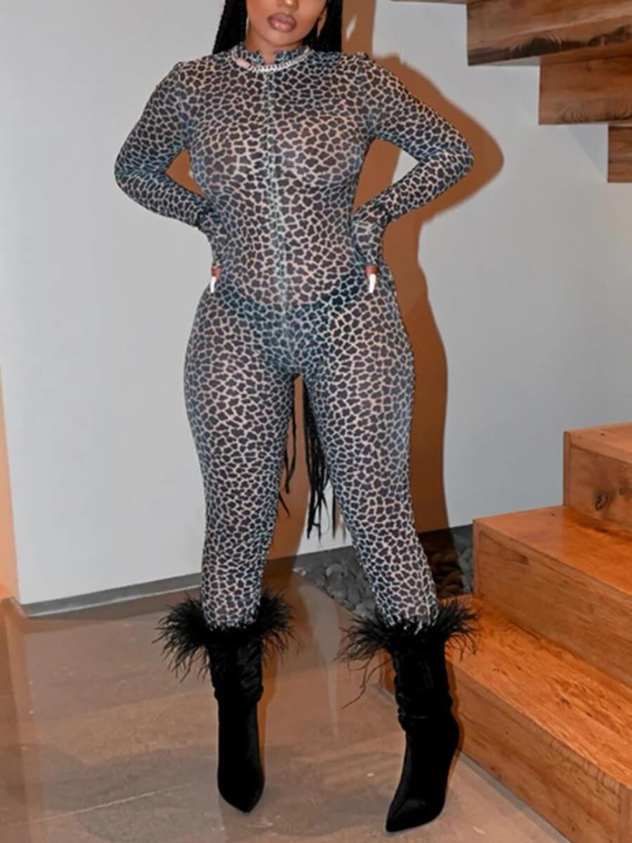 Lovely Sexy Leopard Print One-piece Jumpsuit