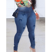 Lovely Casual Butterfly Print Deep Blue Jeans