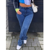 Lovely Trendy Bandage Design Deep Blue Jeans