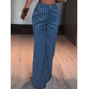 Lovely Trendy High-waisted Striped Blue Jeans