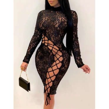 Lovely Sexy Bandage Hollow-out Design Black Knee L