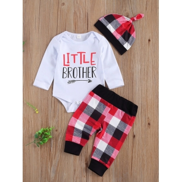 Lovely Casual O Neck Letter Print Boy Two Piece Pa