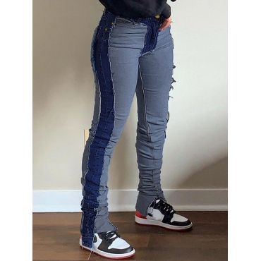 Lovely Street Patchwork Skinny Deep Blue Jeans
