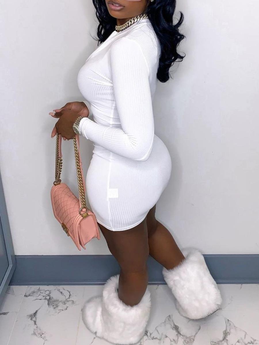 Lovely Chic Rib-Knit Zipper Design White Mini Dres
