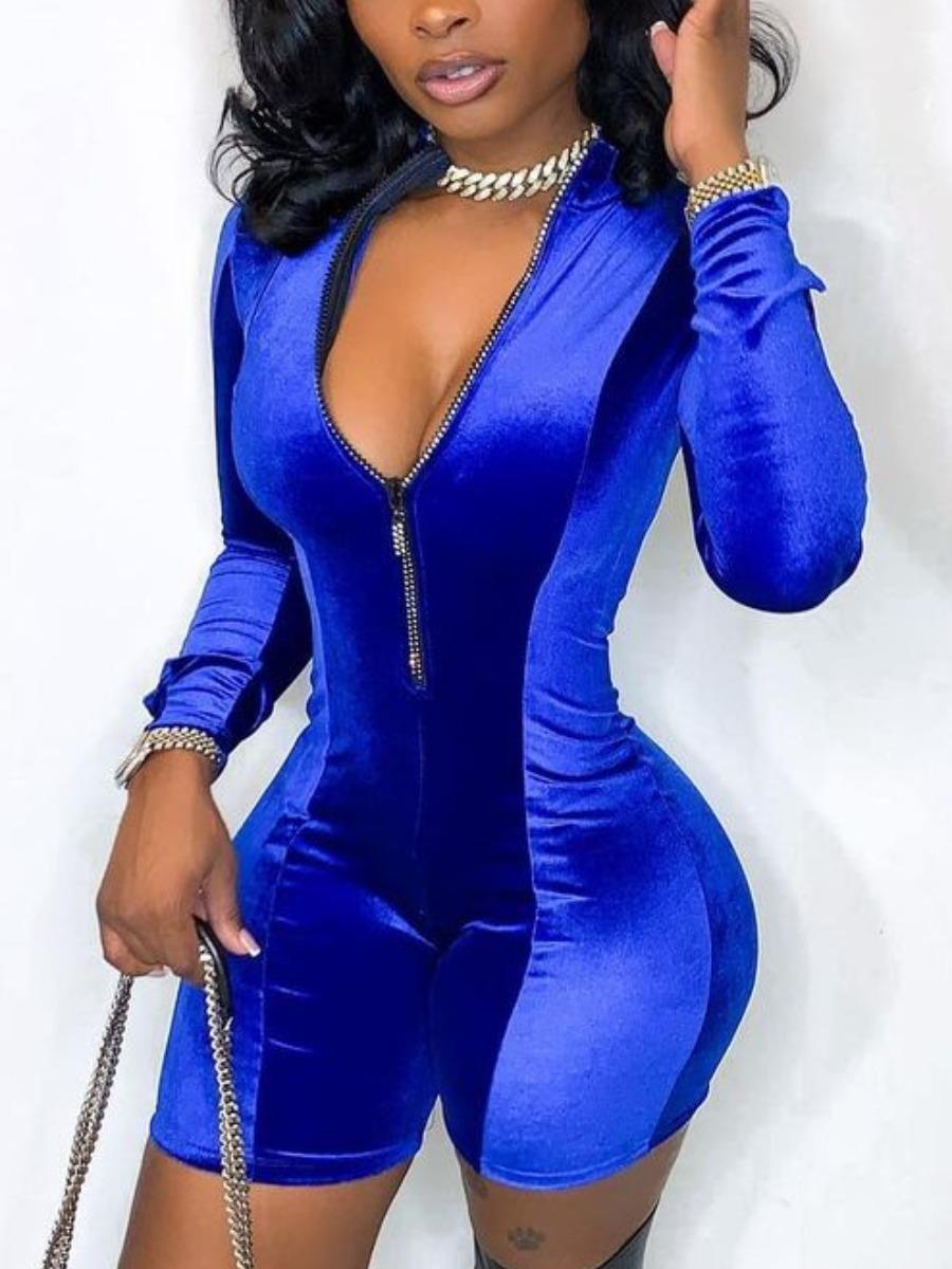 Lovely Chic Zipper Design Basic Skinny Blue One-pi