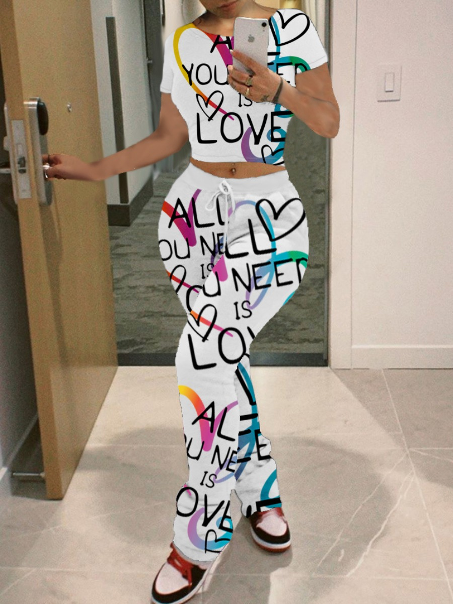 Lovely Casual O Neck Letter Heart-shaped Print Whi