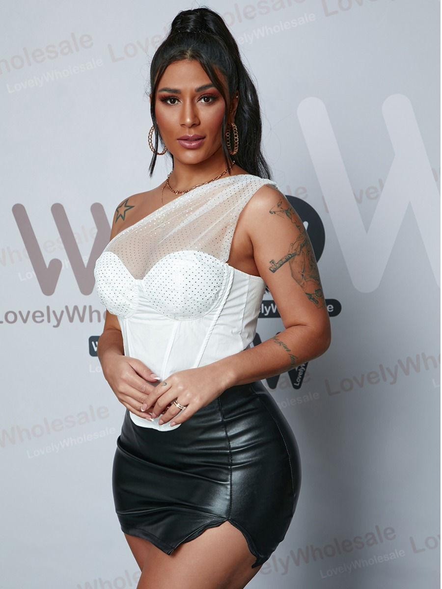 Lovely Sexy One Shoulder See-through White Camisol