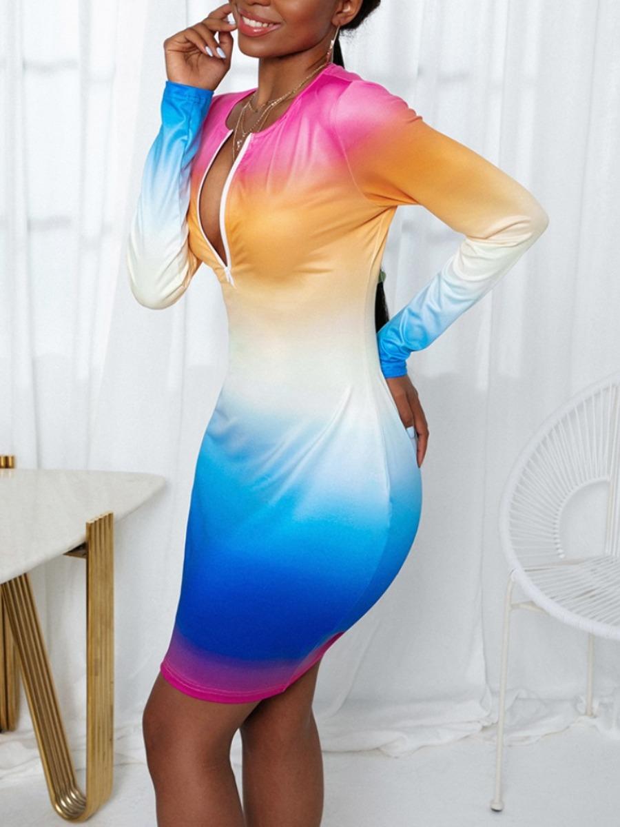 Lovely Sweet Gradient Zipper Design Multicolor Min