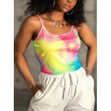 Lovely Casual U Neck Tie-dye Multicolor Camisole