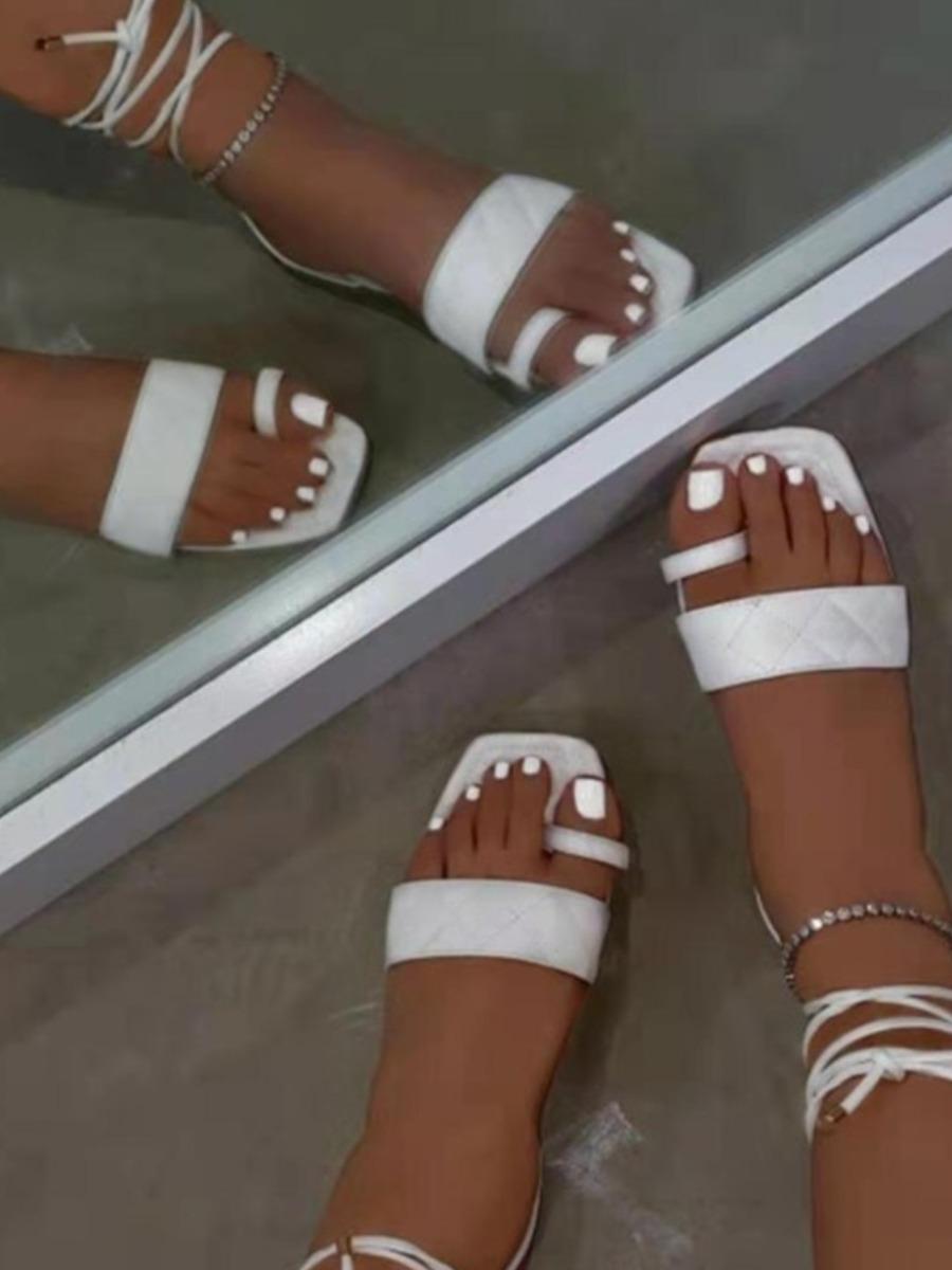 Lovely Street Tie Leg White Sandals